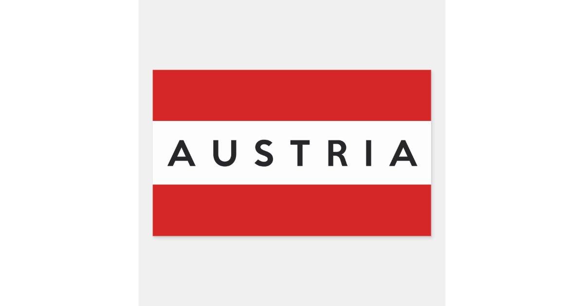 Austria Country Flag Symbol Name Text Rectangular Sticker