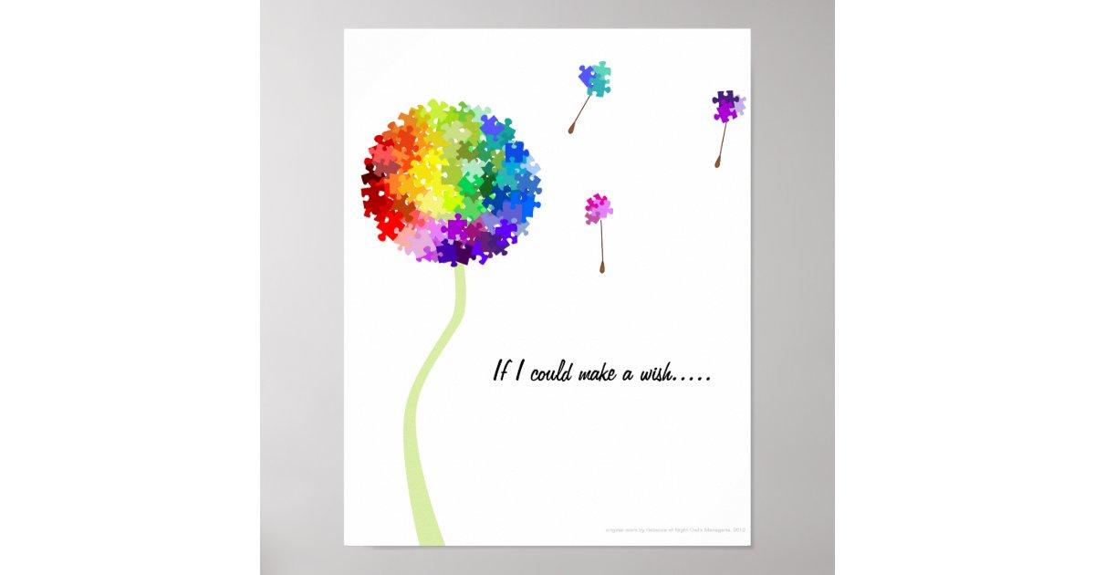 Autism Awareness Dandelion Wishes Poster Zazzle