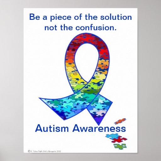 Autism Awareness Rainbow Puzzle Ribbon Poster   Zazzle