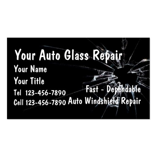 auto glass repair double sided standard business cards. Black Bedroom Furniture Sets. Home Design Ideas