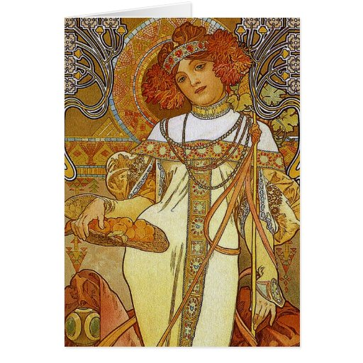 """Autumn"" by Alphonse [Alfons] Mucha Card 