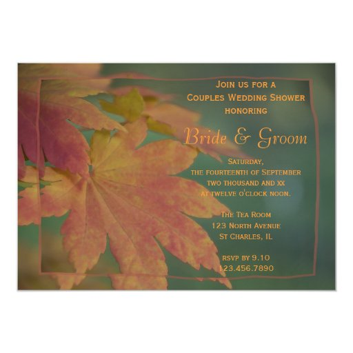 Fall Color Wedding Invitations: Autumn Colors Couples Wedding Shower Invitation