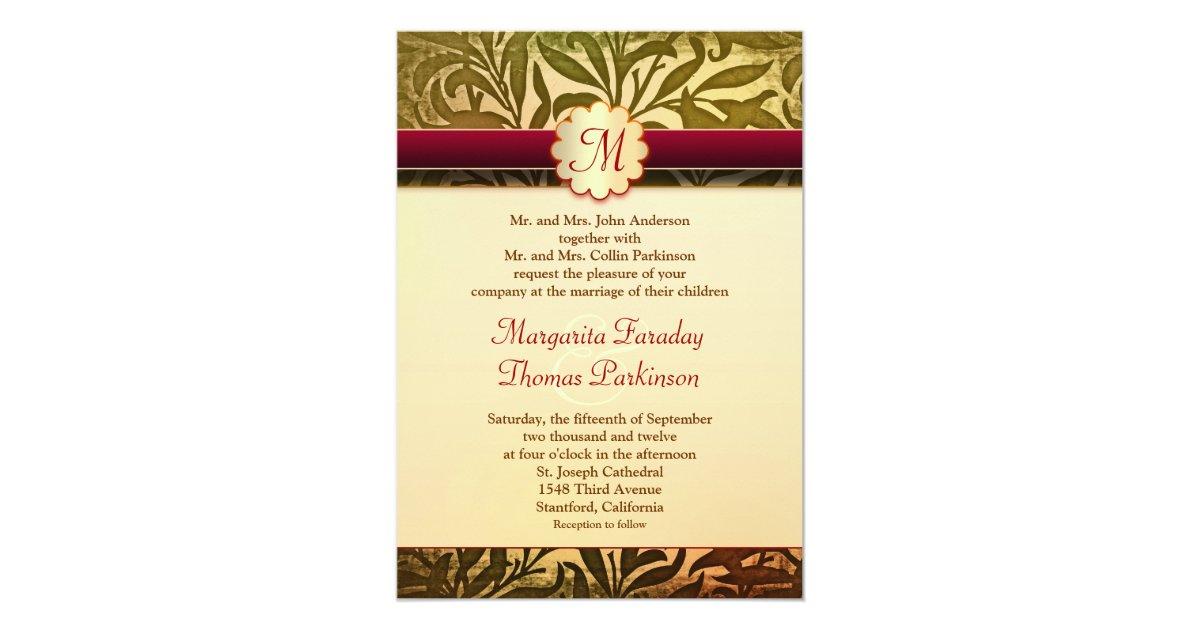 Fall Color Wedding Invitations: Autumn Colors Elegant Wedding Monogram Invitations
