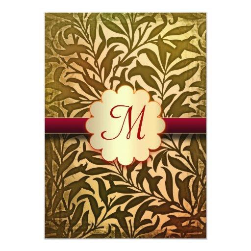 Elegant Fall Color Wedding Inviation: Autumn Colors Elegant Wedding Monogram Invitations
