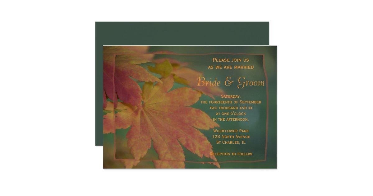 Fall Color Wedding Invitations: Autumn Colors Wedding Invitation