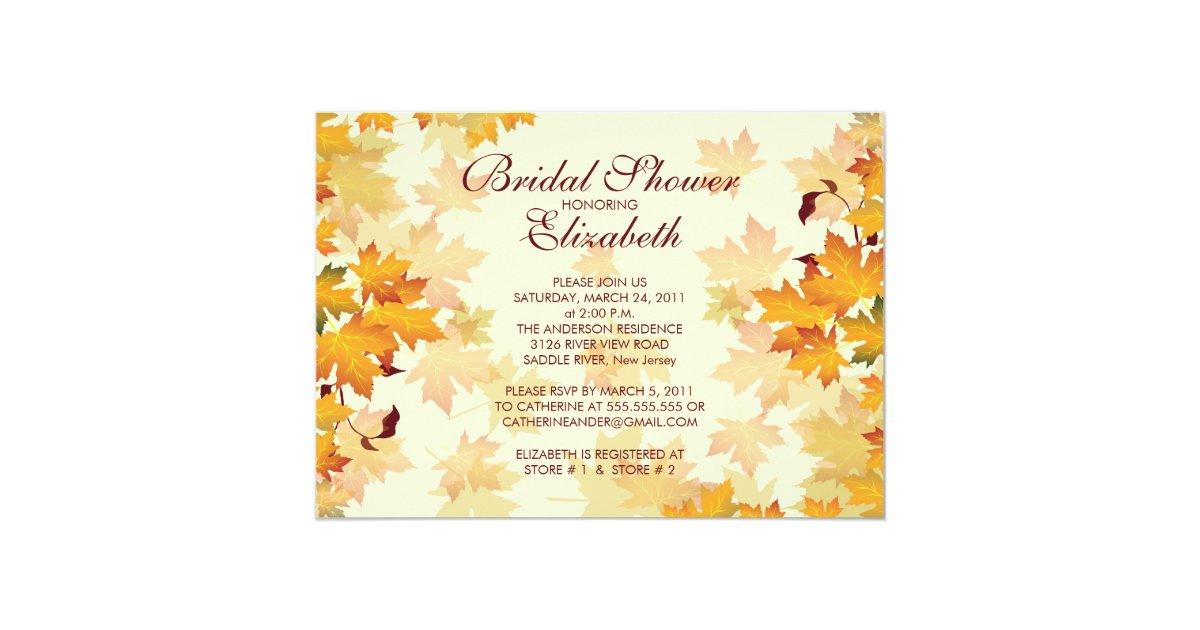 Fall Wedding Shower Invitations: Autumn Fall Leaves Bridal Shower Invitation
