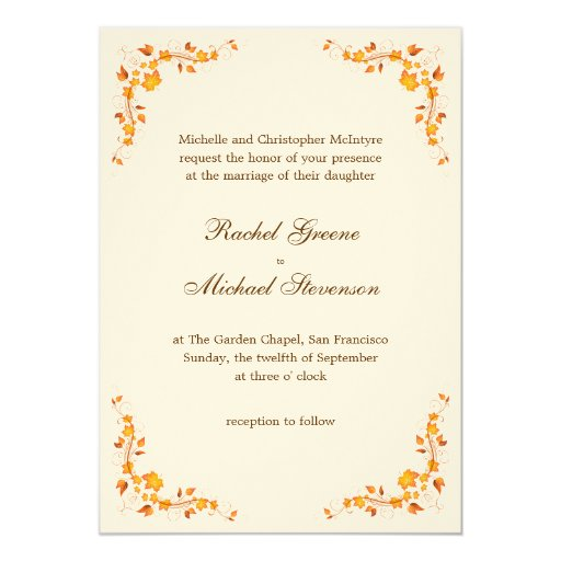Fall Color Wedding Invitations: Autumn Foliage Wedding Invitation 5 X 7 Card
