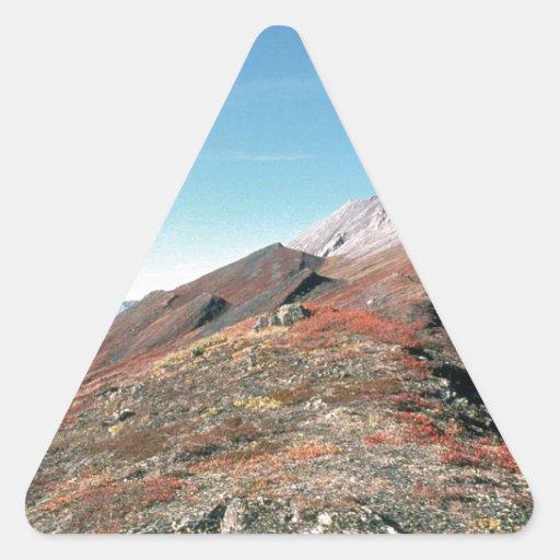 autumn in mountains scenic triangle sticker zazzle. Black Bedroom Furniture Sets. Home Design Ideas