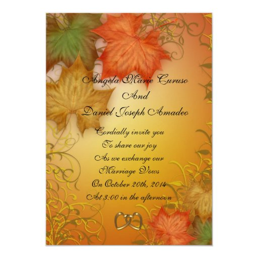 Top 10 Fall Wedding Invitations for Autumn Weddings ... |Fall Leaves Wedding Invitations