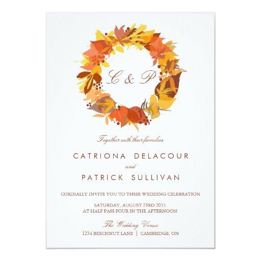 Autumn / Fall Wedding Invitation Falling Leaves 5.25 ... |Fall Leaves Wedding Invitations