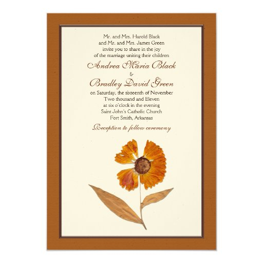 autumn pressed dried flower wedding invitation zazzle. Black Bedroom Furniture Sets. Home Design Ideas