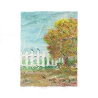 Autumn Tree with Birds Watercolor Fleece Blanket