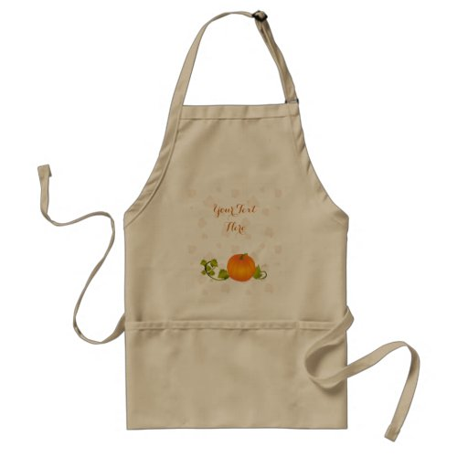 Autumn Vine Pumpkin with Customizable Text Adult Apron