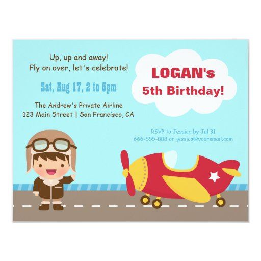 Items Similar To Airplane Birthday Invitation: Aviator Boy Airplane Birthday Party Invitations