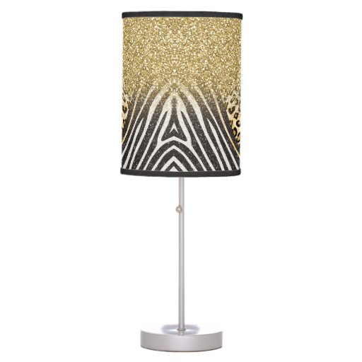 Girly Lamps For Bedroom: Awesome Girly Trendy Gold Leopard And Zebra Print Table