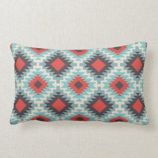 Aztec Tribal Native American Red Blue Pattern Pillows Zazzle