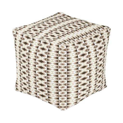 aztec tribal print neutral browns beige taupe cube pouf zazzle. Black Bedroom Furniture Sets. Home Design Ideas