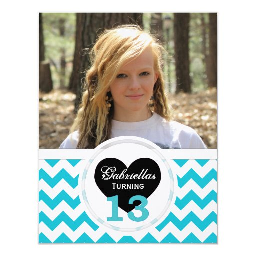 B&W 13th Birthday Chevron Print: Party Invitation