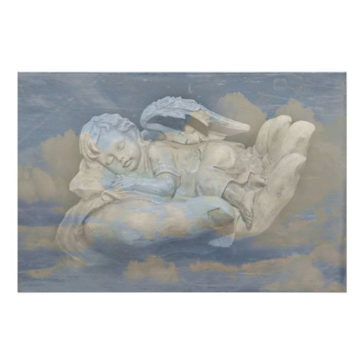 Baby Angel Wings Sleeping in God's Hand Poster | Zazzle