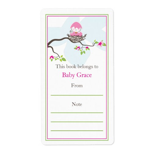 bookplate templates for word - baby bird bookplate labels zazzle
