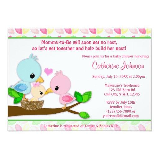 Family Baby Shower Invitations: Baby Bird Nest Baby Shower Invitations GIRL Family