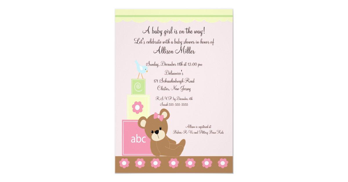Baby Blocks Baby Girl Shower Card | Zazzle