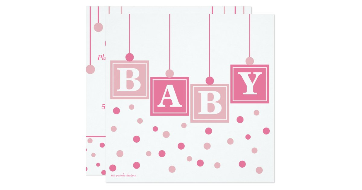 BABY Blocks Pretty in Pink Girl Baby Shower Card | Zazzle