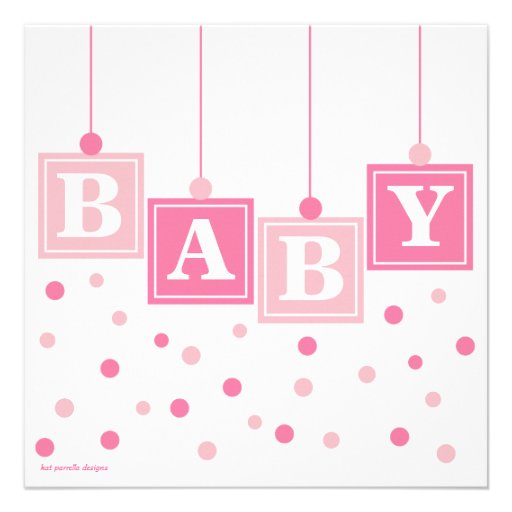 BABY Blocks Pretty in Pink Girl Baby Shower 5.25x5.25 ...