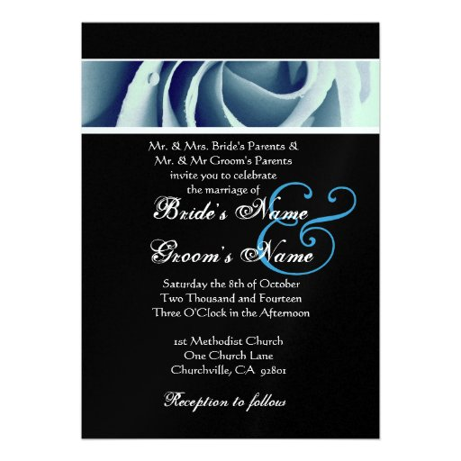 Baby Blue Wedding Invitations: Baby Blue Rose And Black Background Wedding Personalized