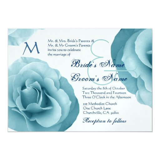 """Baby Blue Wedding Invitations: Baby Blue Rose And White Wedding Template 5"""" X 7"""" Invitation Card"""