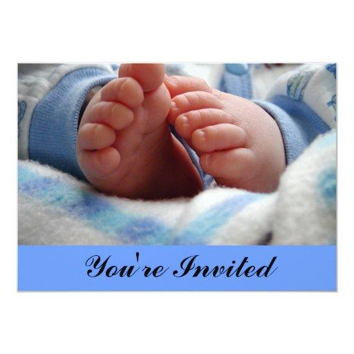 Baby Boy Footprints Baby Shower Invitation Zazzle
