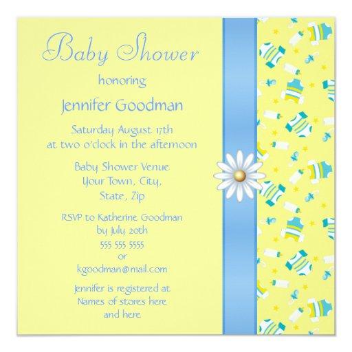 Baby Clothes, Bow & Daisy Baby Shower Invitation