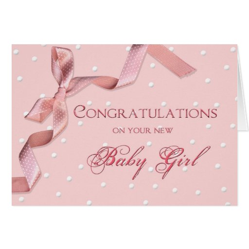 baby congratulations  baby girl greeting card  zazzle