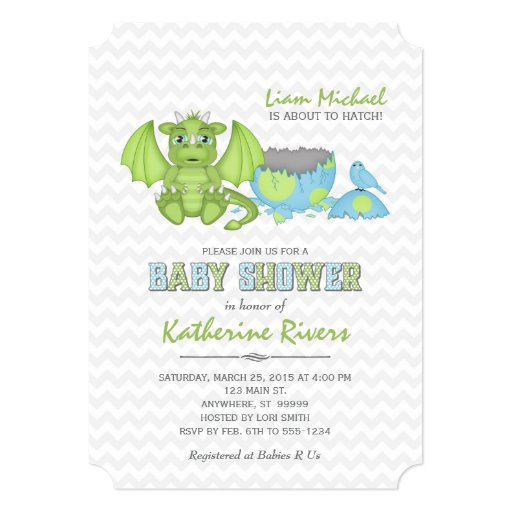 Baby Dragon Baby Shower Invitation Green Blue Gray Zazzle