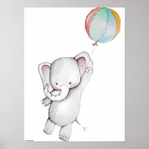 baby elephant with balloon customizable poster  zazzle
