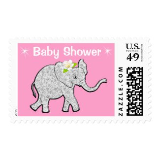 Baby Girl Elephant Themed Shower Stamps