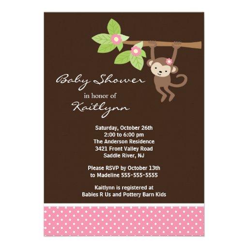 "Baby Girl Monkey Safari Baby Shower Invitation 5"" X 7"