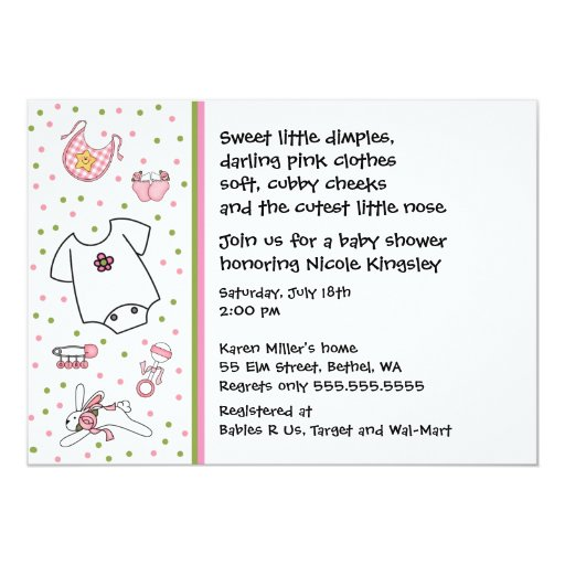 Baby Girl Things Shower Invitation