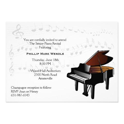 Personalized Piano Recital Concert Invitations