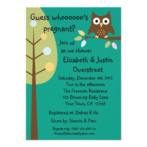 Blank Owl Baby Shower Invitations: Baby Owl Whoooos Pregnant Green Shower Party Custo 5x7