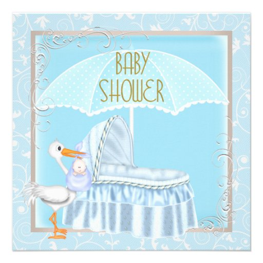 Baby Shower Boy Baby Blue Umbrella Bassinette 5.25x5.25 Square Paper ...