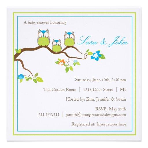 Family Baby Shower Invitations: Baby Shower Invitation - Owl Family