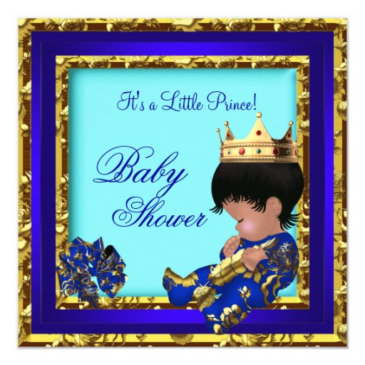 Baby Shower Royal Blue Gold Boy Crown Prince Card Zazzle