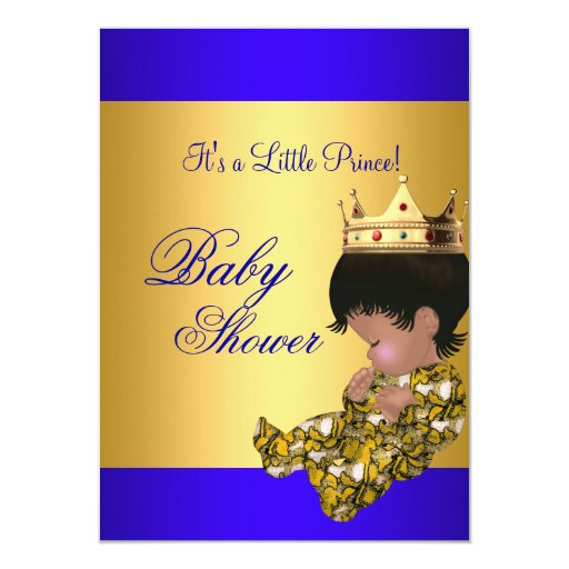 "Baby Shower Royal Blue Gold Boy Crown Prince 4.5"" X 6.25"