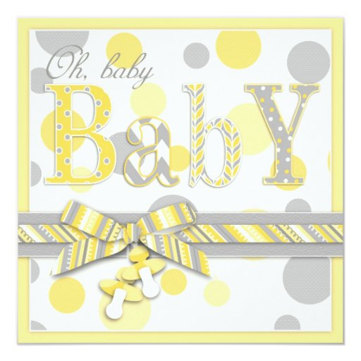 Baby Yellow Gray Dots Baby Shower 5.25x5.25 Square Paper