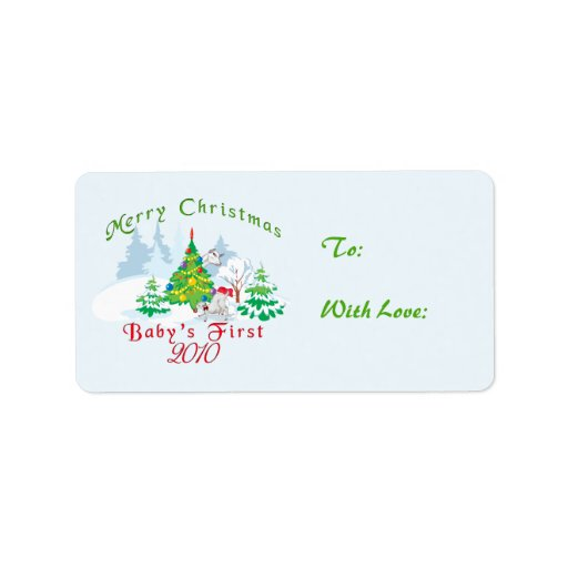 Babys First Christmas Gifts: Baby's First Christmas Gift Tags Label