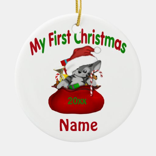 Babys First Christmas Kitty Personalized Ceramic Ornament ...