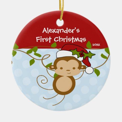 Baby S First Christmas Ornament Boy Santa Monkey Zazzle
