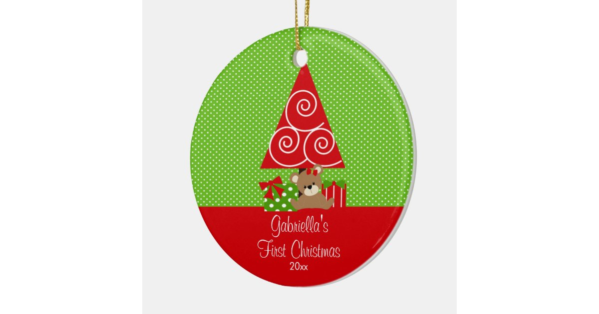 Baby's First Christmas Ornament Christmas Tree | Zazzle