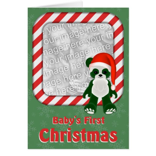 Baby's First Christmas Photo Card Template Frame